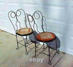 2 Vintage Ice Cream Parlor Bistro chairs Twisted IRON METAL Back and Legs OLD