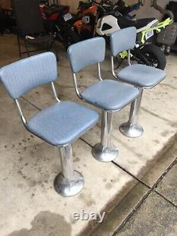 3 Vintage Original 1950s Ice Cream Parlor Stools Bar Chairs Soda Fountain Old