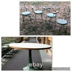 4 Vintage Ice Cream Parlor Chairs & Table set Green paint Twisted IRON METAL 19t