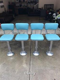 4 Vintage Original 1950s Ice Cream Parlor Stools Bar Chairs Soda Fountain Old
