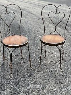 A Pair Of Antique Japanned Copper Wire Ice cream Store Chairs