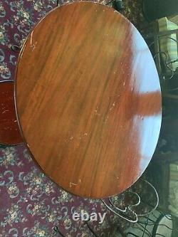 Antique Ice Cream Parlor Set Table & 4 Chairs Mahogany Large 41 Top