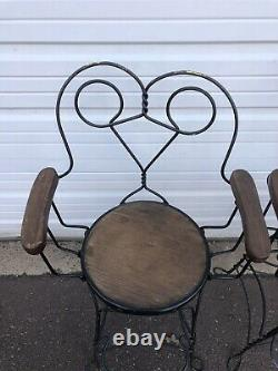 Antique Ice Cream Parlor Stool Arm Chairs Twist Wire Back Hearts Oak