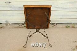 Antique Ice Cream Parlor Twist Wire & Wood Table