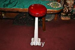 Antique Porcelain Metal Ice Cream Parlor Shop Stool Red Cushion Seat #2