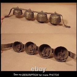 Antique Set of 4 Graduated Ice Cream Truck Nickle Plated Brass Bells Great Sound