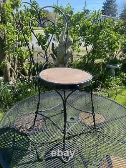 Antique Wrought Iron Ice Cream Parlor Set Of 4 Chairs And Table