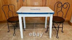 Antique child Enamel top Table & His & Hers Ice Cream Parlor 2 Chairs, Adorable
