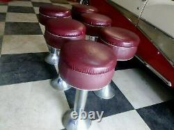 Art Deco Vintage Set 6 Chrome Red Ice Cream Parlor Diner Counter Mid 30's Stools