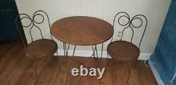 Kids Vintage Bistro Ice Cream Parlor Set Wood & Wrought Iron Table 4 Chairs
