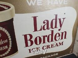Lady Borden Ice Cream Flange Double Sided Metal Grocery Drug Store Vintage Sign