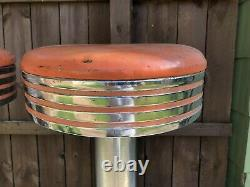 Pair of 1950's Vintage Stools Bar Diner Ice Cream Parlor antique Chrome SpinTop