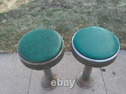 Pair of 1950's Vintage Stools Bar Diner Ice Cream Parlor antique ChromeSpin Top