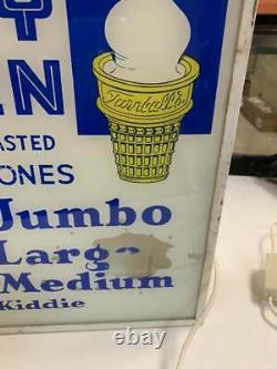 RARE Vintage Dairy Queen Turnbull Ice Cream Cones Lighted Glass Sign GAS OIL COL