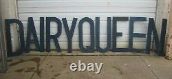 Salvaged Vtg c1950s Dairy Queen Ice Cream Stand Hand Cut Wood Block Letter Sign
