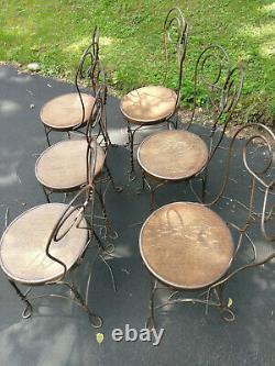 Set of 6 Ice Cream Parlor Chairs Tiger Oak and Wrought Iron Antique Cafe bistro