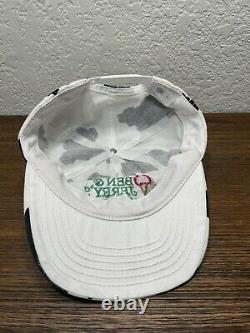 Vintage 1990s Ben & Jerrys All Over Print Embroidered Cow Snapback Hat Cap