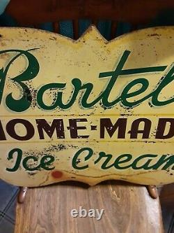 Vintage Bartel's HOME MADE Ice Cream ADVERTISING HAND PAINTED STEEL DOUBLE
