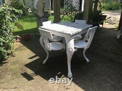 Vintage Early 20th Century Ice cream parlor cast Iron Table With Swing Out Seats