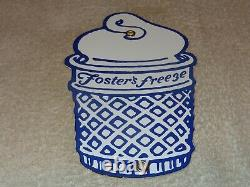 Vintage Foster's Freeze Ice Cream Cone California 8.5 Porcelain Metal Gas Sign