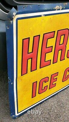 Vintage Hershey's Ice Cream Large Country Store Embossed Metal Sign 47x31
