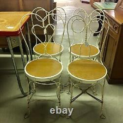 Vintage Ice Cream Parlor Chairs (4) Wrought Iron Round Seat