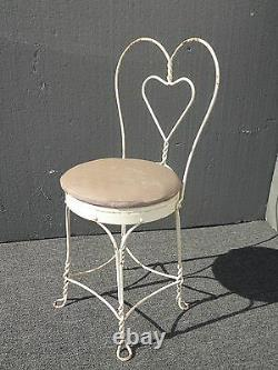 Vintage Ice Cream Parlor Industrial White Table & 4 Heart Shaped Metal Chair Set