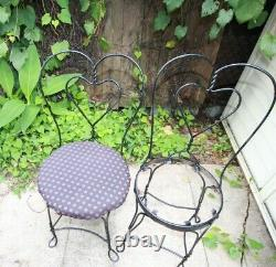 Vintage Ice Cream Parlor Soda Fountain Marble Table & Wrought Iron Chairs