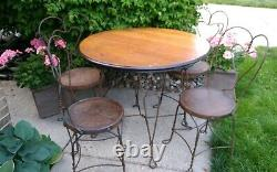 Vintage Ice Cream Parlor Table & Chairs Tiger Oak 36 Table Iron Heart Design