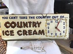 Vintage Large Electric Light-up Country Ice Cream Advertising Clock Sign 28 X 12