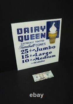 Vintage NOS 1950s Dairy Queen Sign Early DQ Glass Ice Cream Sign Unused NrMt