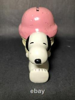 Vintage Peanuts 1966 Ultra Rare Snoopy with Pink Ice Cream Cone Bank / BG