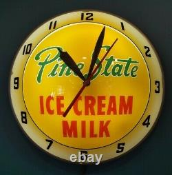 Vintage Pine State Ice Cream Milk Double Bubble Lighted Clock Vtg Old