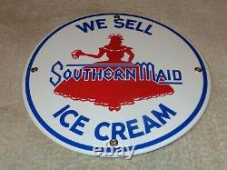Vintage Southern Maid Ice Cream +flapper Girl 10 Porcelain Metal Dairy Gas Sign