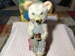 Vintage Tin Battery Operated Ice Cream Baby Bear Toy (Chocolate) 1950s Japan