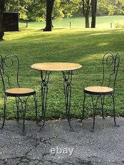 Vintage Twisted Iron Ice Cream Parlor Bistro Sweetheart Table & Chair Set for 4