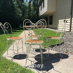 Vintage Wrought Iron Wire and Oak Ice Cream Parlor Set Patio Table 4 Chairs