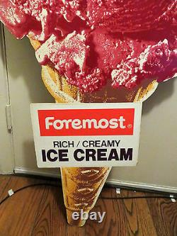 Vtg Extra Large Foremost Dairy Ice Cream Cone Cutout Sign Fabulous Advertising