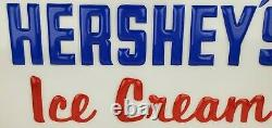 Vtg Hershey's Ice Cream Lighted Sign Country Store Window Display Embossed 28x14